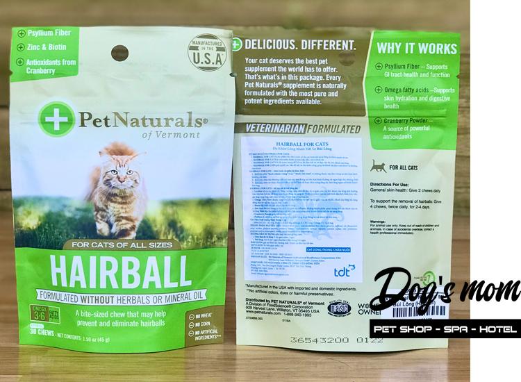Viên Nhai chống búi lông cho Mèo Hairball Pet Naturals