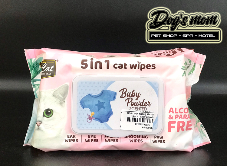 Khăn Giấy Ướt Kháng Khuẩn KitCat 5in1 Cat Wipes - Hương Phấn Baby